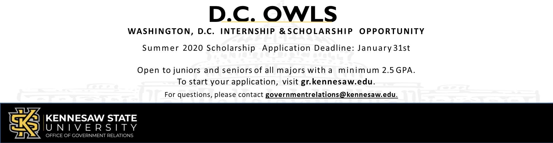DC Owls Internship & Scholarship Opportunity